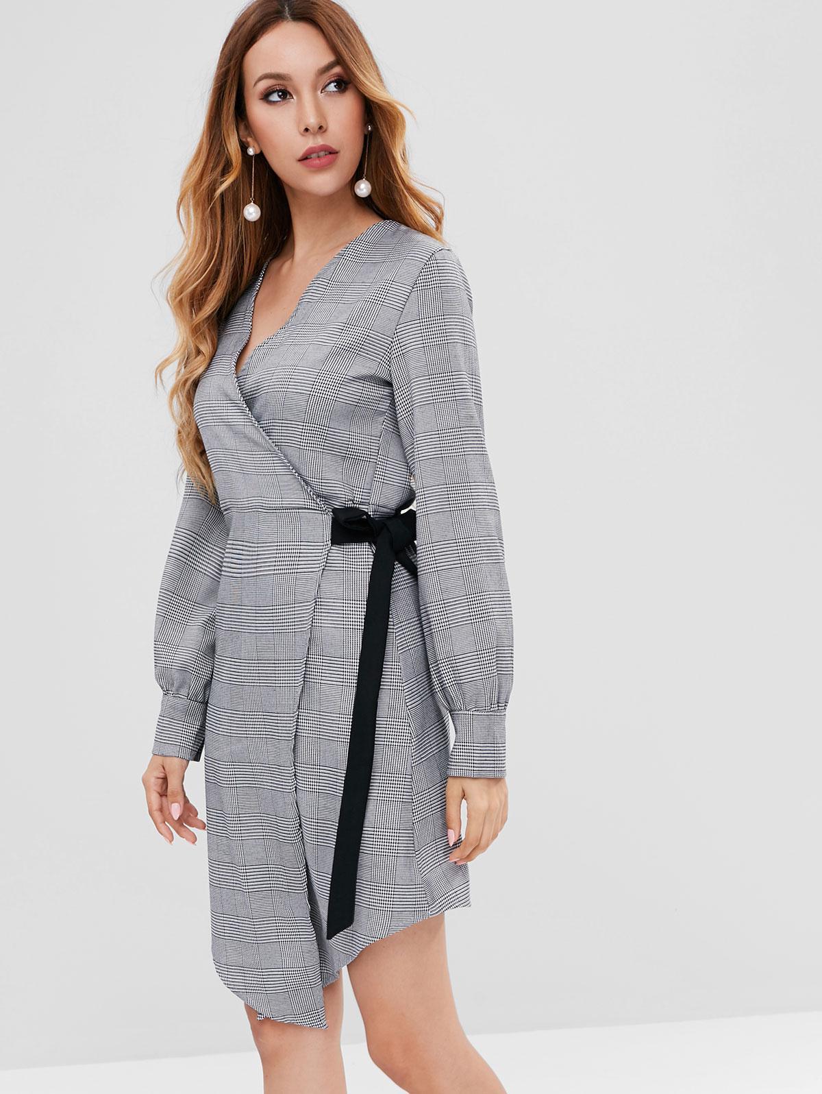 Long Sleeve Houndstooth Plaid Wrap Dress