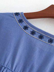 Con Bordado Con S De Azul De Blusa Cambray Estampado Flores Top qIORw7