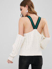 68% OFF  2019 Cable Knit Ribbons Cold Shoulder Sweater In CRYSTAL ... 44b503a9c