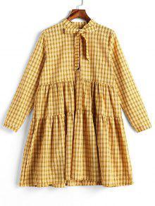 قميص طويل الأكمام الترتان القميص - الأصفر