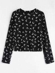 De Camiseta Negro Luna Larga Manga n0OqwxpXp
