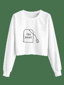 ZAFUL Tea Sweatshirt Blanco Graphic S Crop UgC04Uqw