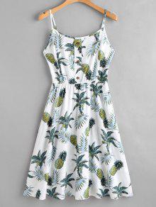 فستان بطبعات استوائية - أبيض L