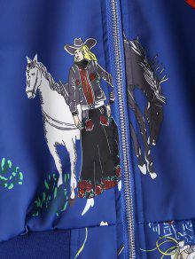 Caballo 225;n M Con Azul Bombardero De Manga Ragl Chaqueta De Cobalto Estampado fBIq6q8W
