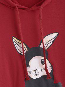 Con Graphic Xl Faux Rojo Twinset Sudadera Rabbit Capucha HIgqFF