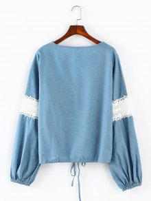 Azul En Blusa Claro V Con Cuello Lazo De S 7xxnwqBY6C