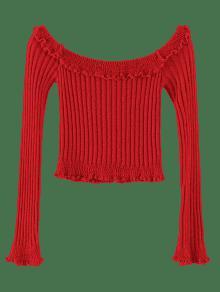 0ac76b116720c5 60% OFF  2019 ZAFUL Ruffles Trim Off Shoulder Crop Sweater In RED ...