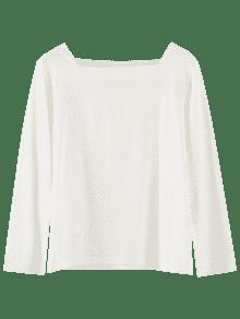 Larga Manga Camiseta Cuadrado Cuello Blanco HS8wq