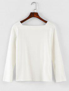 Manga Blanco Cuadrado Larga Camiseta Cuello x4wZaAPnq