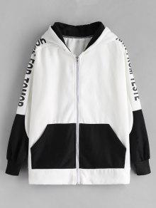 Capucha Con Tama Blanco Sudadera De Up Gran Color Block o Zip wqSpAxaf