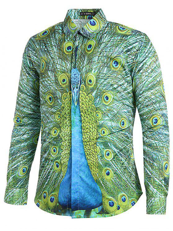 غطّى زرّ Peacock طبع عرضيّ قميص - السرخس الأخضر XL