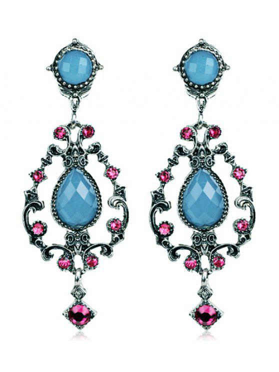 sale Rhinestone Water Drop Hollowed Earrings - SILK BLUE