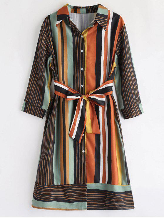 trendy Long Sleeve Knot Striped Shirt Dress - MULTI S