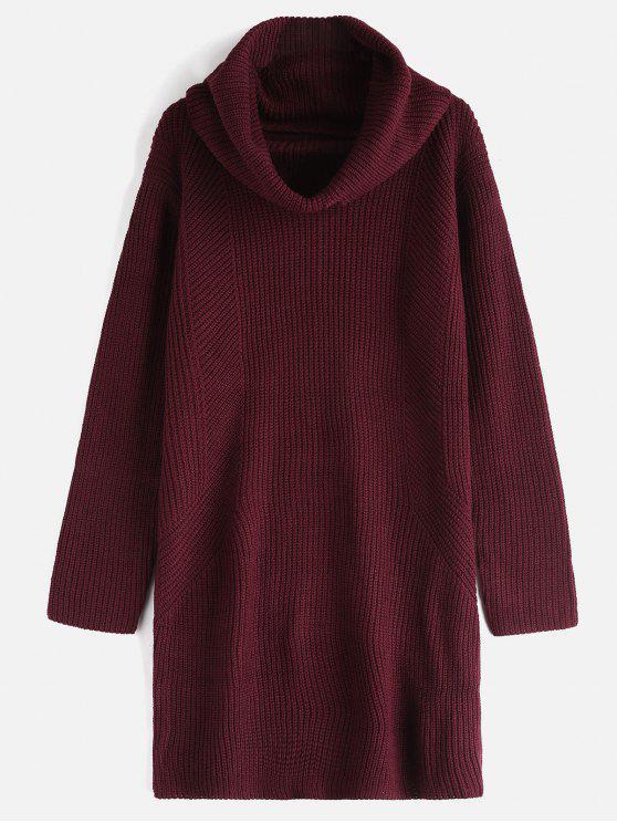 الطربوش عنق طويل الأكمام سترة اللباس - نبيذ احمر حجم واحد