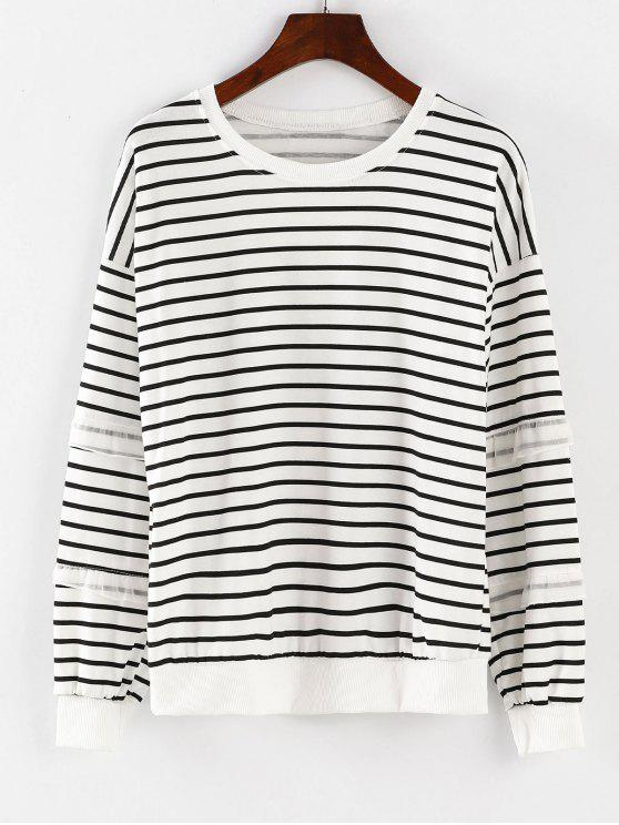 best Long Sleeve Striped Sport Sweatshirt - WHITE M