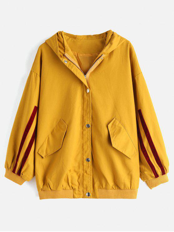 sale Single Breasted Hooded Casual Coat - ORANGE GOLD ONE SIZE