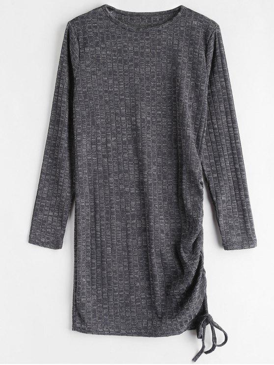 womens Heathered Draped Mini Dress - CARBON GRAY M