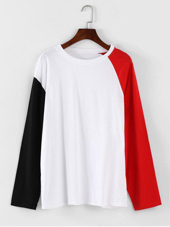 Übergroßes kontrastierendes T-Shirt - Weiß Eine Größe
