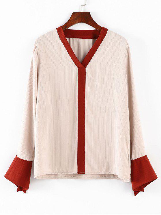 V-Ausschnitt Kontrast-Casual Bluse - Aprikose Eine Größe