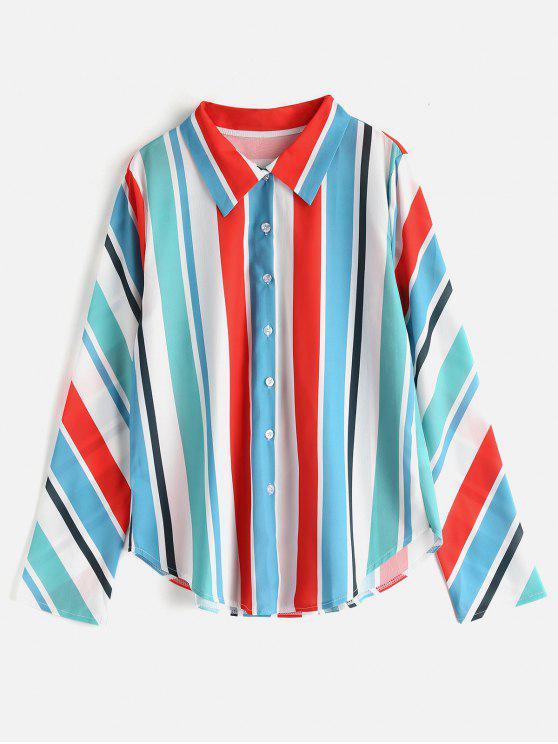 women Colorful Striped Tunic Shirt - MULTI M