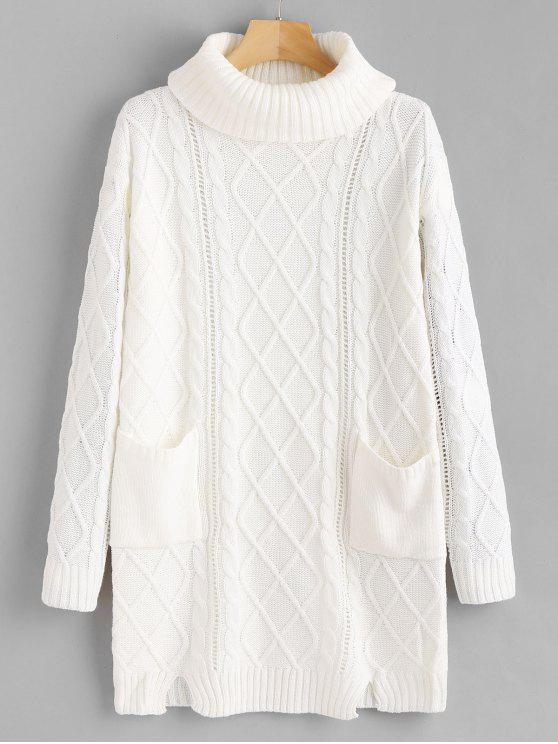 outfit Notched Cable Knit Turtleneck Sweater - WHITE M