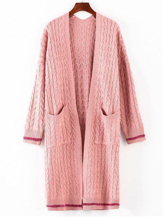 Cable Knit Kragen Midi Strickjacke - Pink Eine Größe