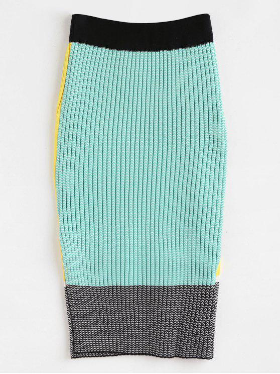 Bodycon Strickrock mit farbigem Block - Multi Eine Größe