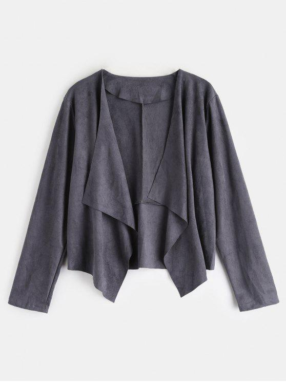 online Open Front Faux Suede Jacket - SMOKEY GRAY S