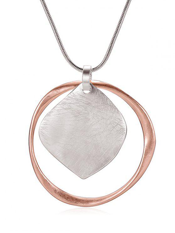 Geometrische Form aushöhlen Anhänger Halskette - Silber