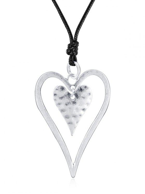 chic Hollow out Heart Design Pendant Necklace - SILVER