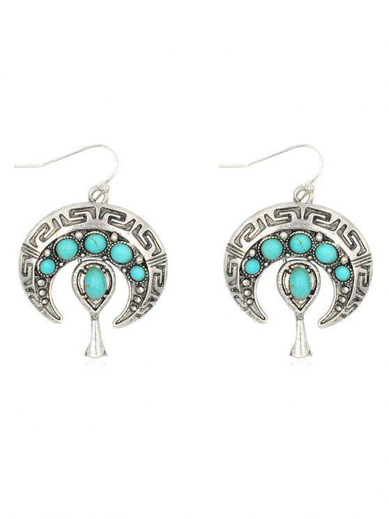 lady Bohemian Faux Turquoise Inlaid Drop Earrings - SILVER