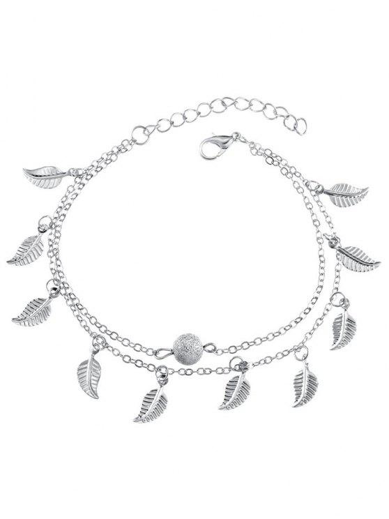 online Double Layer Metal Leaf Ankle Bracelet - SILVER