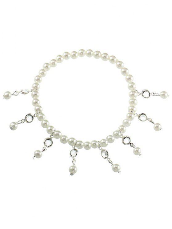 Vintage Faux Perle Fuß Schmuck Knöchel Armband - Silber