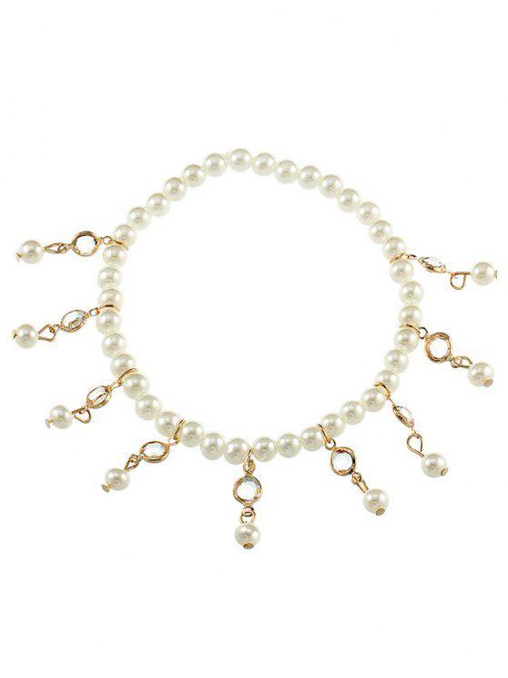 Vintage Faux Perle Fuß Schmuck Knöchel Armband - Gold