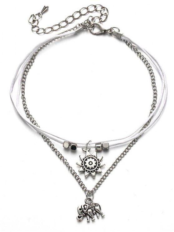 Multilayers Metal Elephant Tornozelo Pulseira - Prata