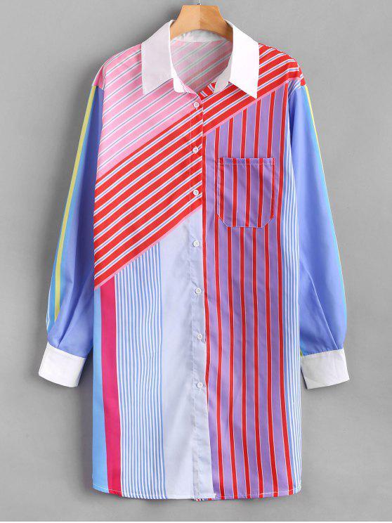 Vestido de camisa de manga larga a rayas multicolor - Multicolor Talla única