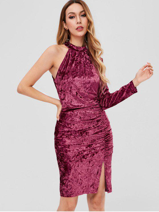 trendy Velvet Cinched One Shoulder Dress - PLUM VELVET M