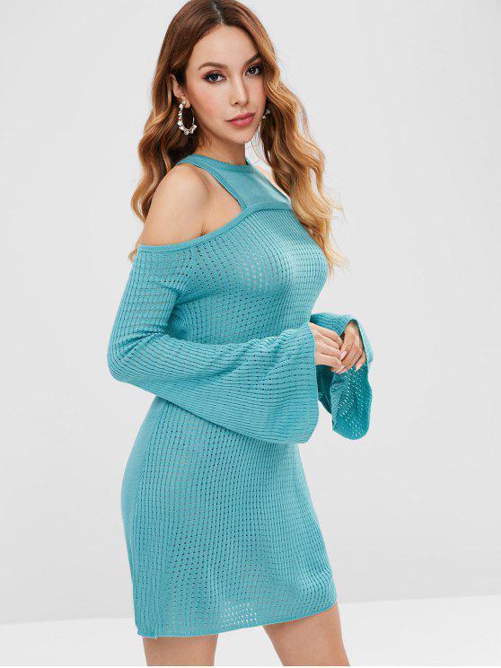 Piercing no ombro frio bodycon vestido de camisola - Turquesa Média M