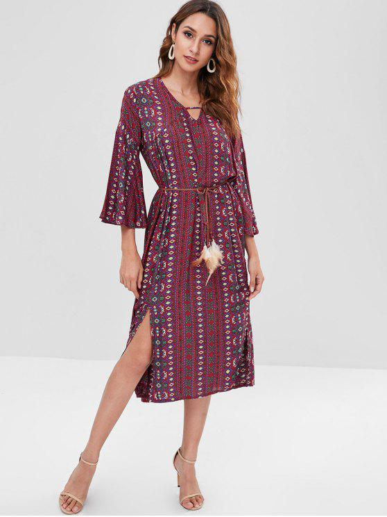 women Bohemian Bell Sleeve Floral Midi Dress - RED WINE ONE SIZE