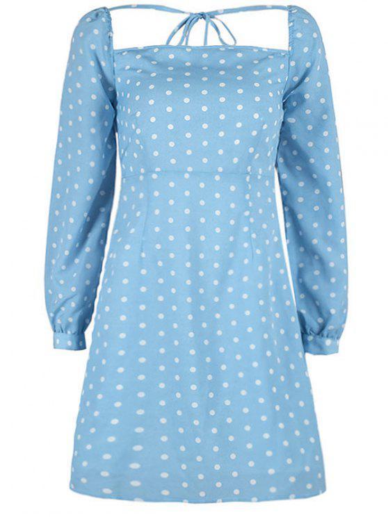 ladies Square Polka Dot Mini Dress - DAY SKY BLUE M