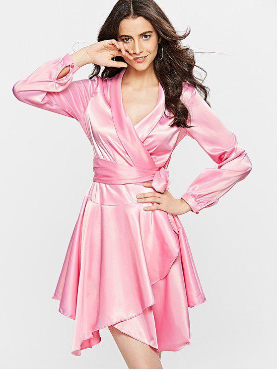 lady Long Sleeve Satin Wrap Dress - PINK M
