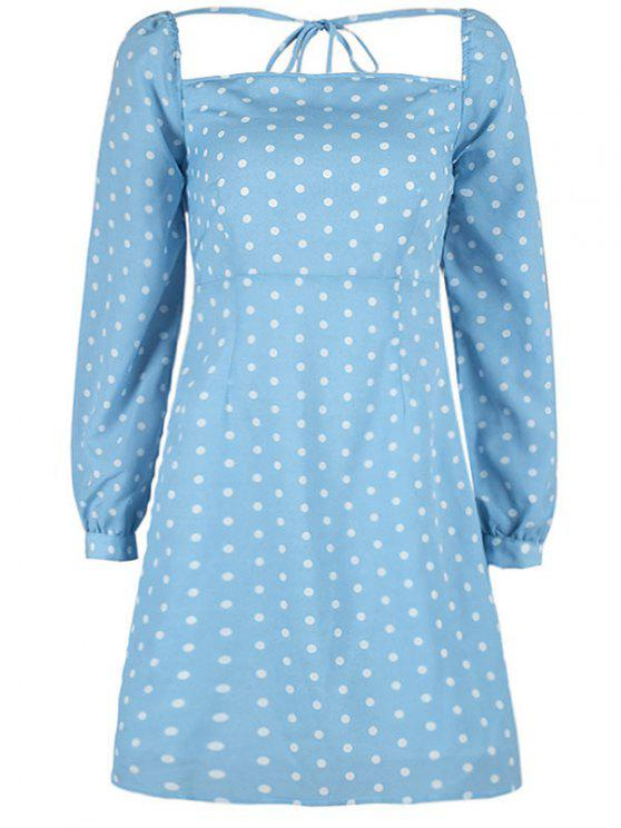 Quadratisches Polka Dot Minikleid - Himmelblau L