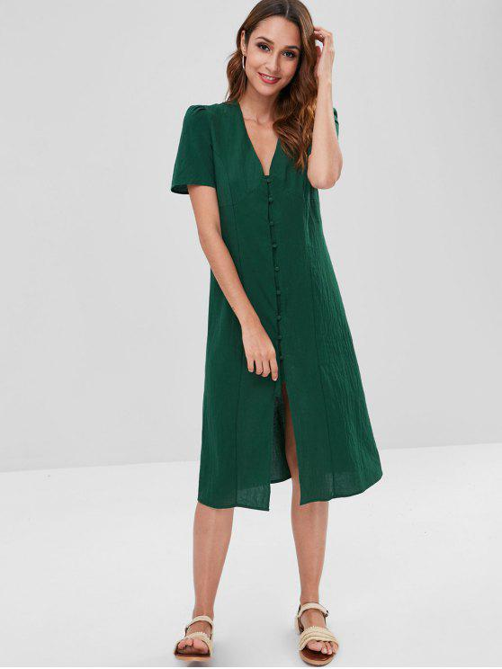 affordable Woven Button Front Puff Sleeve Midi Dress - DEEP GREEN S