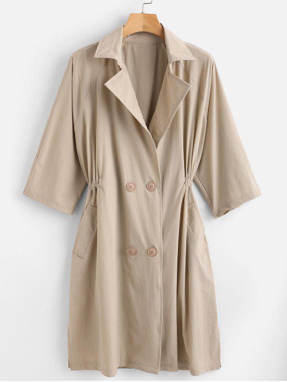 fancy Button Up Lapel Trench Coat - LIGHT KHAKI ONE SIZE