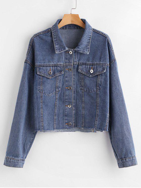 Chaqueta de jean corta con hombros descubiertos - Azul Denim L