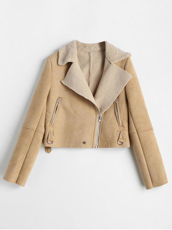 womens Asymmetrical Zipper Faux Suede Jacket - TAN S