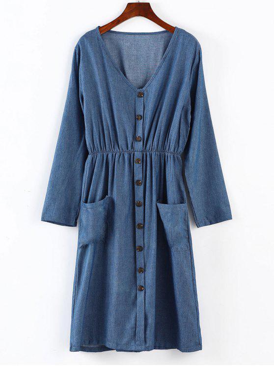 sale ZAFUL Long Sleeve Midi Chambary Dress - BLUE S