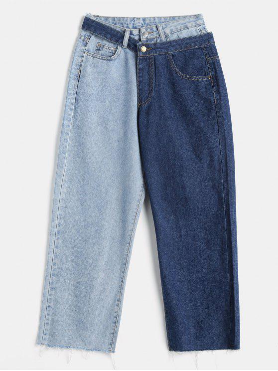 Jeans de contraste destacável desgastados - Azul Denim M
