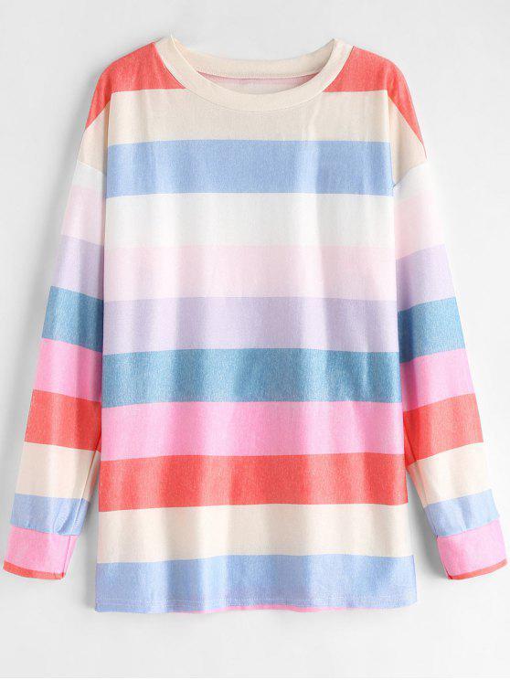 Camiseta Rainbow Drop Shoulder - Multicolor M