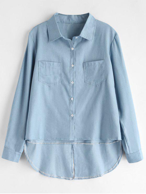 Camisa alta baja Chambray - Azul Marino M